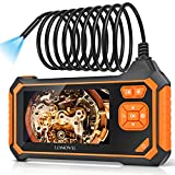 Borescope Inspection Camera, LONOVE Industrial Endoscope Camera HD 5.5mm 1080P 4.3' LCD Screen w/ IP67 Waterproof Snake Camera 6 LED Lights, Sewer Camera with Semi-Rigid Cable, Emergency Light -16.5FT