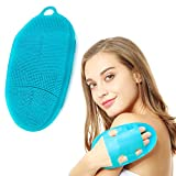 INNERNEED Soft Silicone Body Scrubber Exfoliating Glove Shower Cleansing Brush, SPA Massage Skin Care Tool, for Sensitive and All Kinds of Skin (Blue)