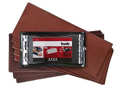 kwb Handschleifer-Set – 2-tlg. inkl. Schleifklotz mit Klemmvorichtung und Schleifpapier 93 mm x 230 mm (50 Stk.)