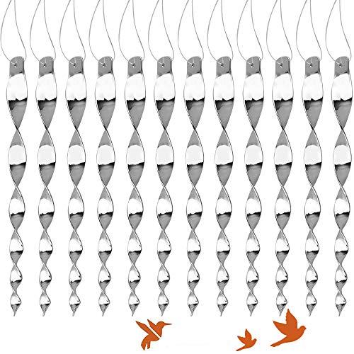Sporgo Vogelschreck Reflektierendes Vogelabwehr, 12er Set Reflektierende Taubenschreck Windspirale Vogel Abschreckung Vögel Vertreiben Taubenabwehr Windspiel Vogel Abwehr für Balkon Garten