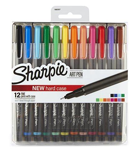 Bolígrafos Sharpie, punta fina, rojo, caja de 12, color Assorted- Art Pens 12-Pack