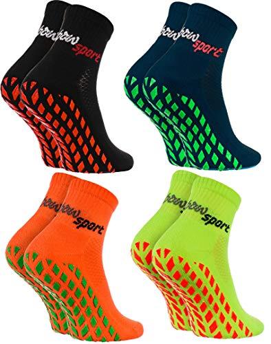 Rainbow Socks - Donna Uomo Neon Calze Sportive Antiscivolo - 4 paia - Nero Blu Arancione Verde - Taglia 44-46