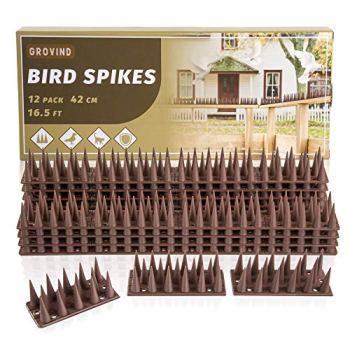 LESES Pics Anti Pigeon 5 Meters Anti Oiseaux Répulsif Pigeon Pointes Répulsives Dissuasives pour éloigner Les Oiseaux/Chats/Pigeons/ratons laveurs (Lot de 12)