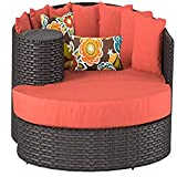 TK Classics Newport Outdoor Wicker Patio Circular Sun Bed Furniture, Tangerine