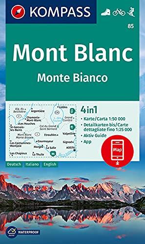 Mont Blanc, Monte Bianco: 4in1 Wanderkarte 1:50000 mit Aktiv Guide und Detailkarten inklusive Karte zur offline Verwendung in der KOMPASS-App. ... [Lingua tedesca]: Wandelkaart 1:50 000: 85
