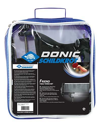 Donic-Schildkröt Tischtennisnetz Friend, wetterfeste Netzgarnitur mit höhenverstellbarem Nylonnetz und Spannschnur, max. Plattenstärke 5,0 cm, 808313