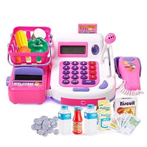 MID VALLEY Cash Register Pretend Play Electronic Toy with Actions, Sounds and Working Calculator and Accessories / Supermarket Kit for Kids (Pink)