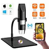 SKYBASIC Wireless Digital Microscope, Mini Pocket Handheld WiFi USB 50x to 1000x Magnification Microscope Camera 8 LED HD 1080P Compatible with Android Smartphone, iPhone, Tablet, Windows Mac-Black
