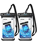 Mpow Waterproof Case, Full Transparency Waterproof Phone Pouch IPX8 Universal Cellphone Dry Bag Compatible for iPhone 11 Pro Max/Xs Max/XS/XR/X/8, Galaxy S10/S9, Google up to 6.8 Inches (Black+Black)