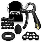 GRM Hand Grip Strengthener Counting Forearm Trainer Workout Kit, 11-132Lbs Adjustable Resistance Grip Strength Trainer, Finger Exerciser, Finger Stretcher, Grip Ring, Stress Relief Grip Ball