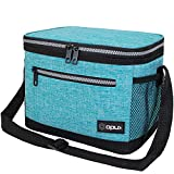 OPUX Insulated Lunch Box for Men Women, Leakproof Thermal Lunch Bag for Work, Reusable Lunch Cooler Tote, Soft School Lunch Pail for Kids with Shoulder Strap, Pockets, 14 Cans, 8L, Turquoise
