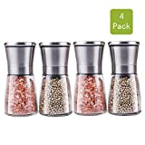 Premium Stainless Steel Salt and Pepper Grinder Set(4 pieces) - Pepper Mill and Salt Mill, Spice Grinder with Adjustable Coarseness, Ceramic Rotor