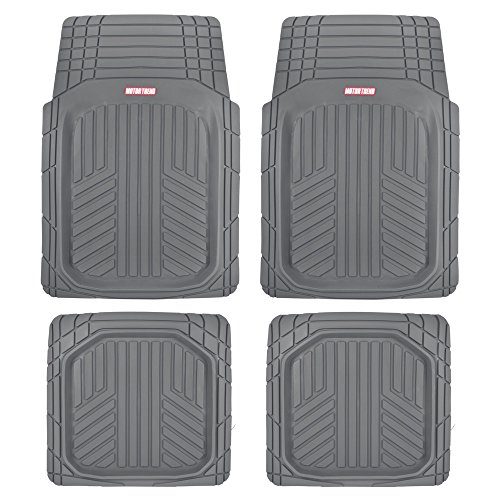 Deep Dish Rubber Floor Mats, Front & Rear for Car Truck & SUV, Thick Heavy Duty Performance, Custom Trimmable, Odorless All Weather Set