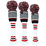 FINGER TEN Golf Club Head Covers for Woods and Driver Fairway Hybrids Knit Set of 3 or 4 with Number Tag Pom Pom Clubs Headcovers for Men Women (3 Pack-White&Red&Black Stripes)