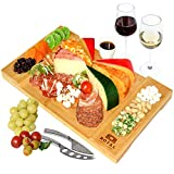Unique Bamboo Cheese Board, Charcuterie Platter & Serving Tray for Wine, Crackers, Brie and Meat....