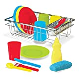 ENTERTAINING 24-PIECE WASH AND DRY DISH SET: The Melissa & Doug Let's Play House! Wash & Dry Dish Set includes 4 place settings (cups, plates, forks, spoons, and knives) plus a squeezable soap bottle, mesh-covered sponge, and metal drying rack. PROMO...