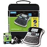 DYMO LabelManager 210D kit de rotuladora portátil, teclado QWERTY, con etiquetas D1 de 12mm de impresión negra sobre fondo blanco y maletín de transporte