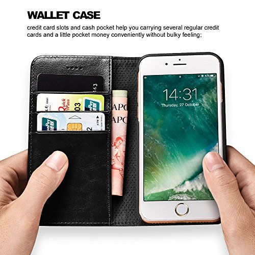 icarercase iPhone 7/8 Wallet Case, iPhone SE Case 2nd Generation Premium PU Leather Folio Flip Cover with Kickstand and Credit Slots for Apple iPhone 7/8/SE 4.7 Inch (Black) 6