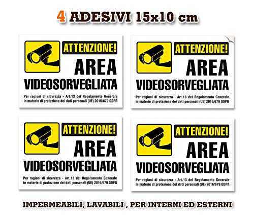 4 Adesivi Videosorveglianza area video sorvegliata. Impermeabili, in pvc/poliestere - mis: 15x10 cm - Italiano 4 pz.