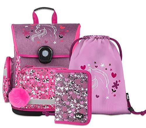 Schulranzen Mädchen Set 3 Teilig - Schultasche ab 1. Klasse - Grundschule Ranzen mit Brustgurt - Ergonomischer Schulrucksack (Pferde)