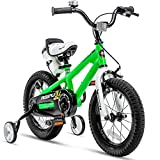 RoyalBaby Kids Bike Boys Girls Freestyle BMX Bicycle with Training Wheels Gifts for Children Bikes 14 Inch Green