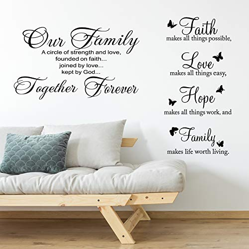 2 Pieces Vinyl Wall Quotes Stickers Faith Hope Love Family...