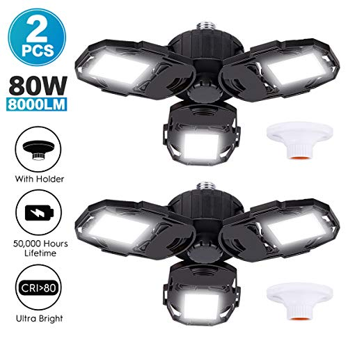 Led Garage Lights 2-Packs, 80W 8000LM Deformable Triple Glow Garage Lighting with 3 Adjustable LED...