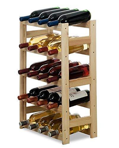 Modo24 - Cantinetta per vini, in legno non trattato, per 20 bottiglie, 43,5 x 25 x 70 cm