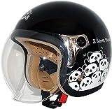 ダムトラックス(DAMMTRAX) バイクヘルメット ジェット CARINA (カリーナ) BLACK-PANDA (ブラック・パンダ) レディースフリー (57~58cm) -