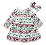Mini honey Toddler Kids Baby Girl Christmas Costume Long Sleeve Tutu Dress Headband Outfits (Multicolor, 2-3 T)