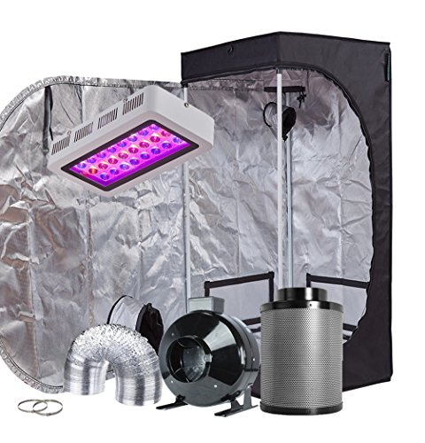 TopoGrow LED Grow Tent Complete Kit LED 300W LED Grow Light Kit +24'X24'X48' Indoor Grow Tent + 4' Fan Filter Ducting Combo Hydroponics Tent System