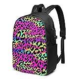 Mochila para portátil de Viaje, Rainbow Leopard Spots Mochila para portátil de Viaje Mochila Escolar universitaria Mochila Informal con Puerto de Carga USB