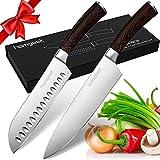 Homgeek Couteaux de Cuisine, Couteaux de Chef 20cm et Couteaux de Santoku 18cm, Acier inoxydable Allemand à Haute Teneur en Carbone, Lame Anti-Corrosion et Anti-Tarnish