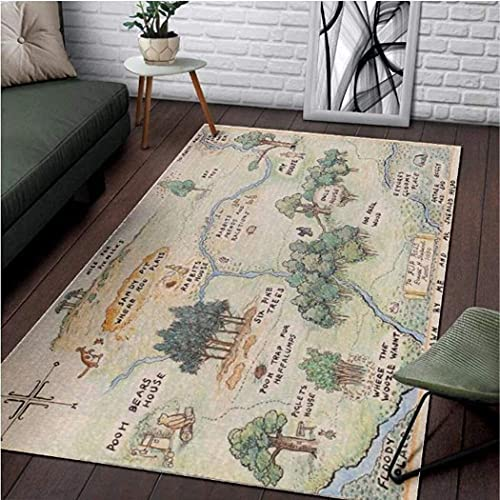 Personalized 100 Acre Wood Map Winnie The Pooh Jungle Area Rug Non Slip Runner Rug for Hallway Bedroom Bathroom Outdoor Living Room Rugs Floor 2x3 3x5 4x6 5x8 Area Rug