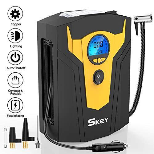 SKEY Luftkompressor DC 12V 150PSI Auto Luftpumpe mit LED-Lichter und LCD-Bildschirm, Mini Kompressor für Autos, Motorräder, Fahrradreifen und Schlauchboote