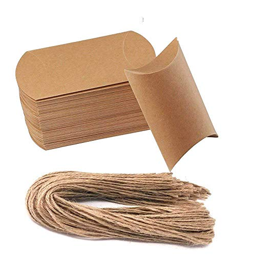 Awtlife - Scatoline in carta kraft naturale, vintage, 50pezzi, per festa nuziale
