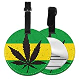 Luggage Identification Tags Cool Green Cannabis Leaf Icon Cute Luggage Tags For Women Name Tags For Travel Bags with Adjustable Black Strap For Bags & Baggage with Privacy Protection For Women Men