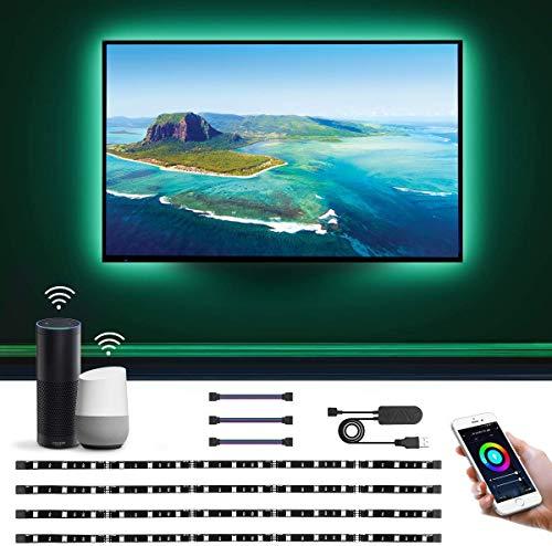 LE Alexa Striscia LED RGB Intelligente per TV USB Ricaricabile 2M, Smart Strisce WiFi Controllo da Voce e App, 16 Millioni Colori e Luce Dimmerabile Compatibile con Alexa/Google Home (4x Strisce 50cm)