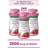 Nature's Bounty Optimal Solutions Hair, Skin, Nails, 2500 Mcg, 80 Gummies (Pack of 3) (Packaging may vary)
