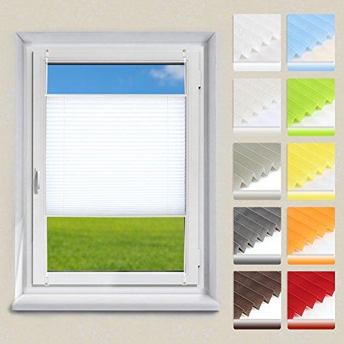 OUBO Plissee Klemmfix Faltrollo ohne Bohren Jalousie mit Klemmträger (Weiß, B80cm x H120cm) Blickdicht Sonnenschutz und Sichtschutz Rollo für Fenster & Tür
