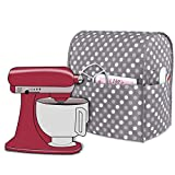 Luxja Dust Cover Compatible with 4.5-Quart and 5-Quart Stand Mixer, Cloth Cover with Pockets for Stand Mixer and Extra Accessories, Gray Dots