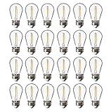 FLSNT 24 Pack LED S14 Replacement Light Bulbs,Shatterproof Waterproof 1W Outdoor String Light Bulbs,E26 Regular Base,2200K Warm White,CRI80,Non-Dimmable