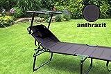 Aluminium Sonnenliege XXL klappbar mit Dach bis 150 kg Klappliege 5-Fach verstellbar - 7