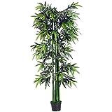 Outsunny Bambou Artificiel XXL 1,80H m 1105 Feuilles denses réalistes Pot Inclus Noir Vert