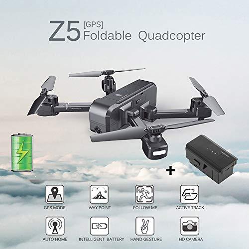 SJ R/C Z5 RC Drone 1080P grandangolo Fotocamera WiFi FPV RC Drone quadricottero + Batteria, Dual GPS,modalit altimetro, tiro a Mano, Follow Me Mode, Avvio/atterraggio con Un Pulsante, Nero
