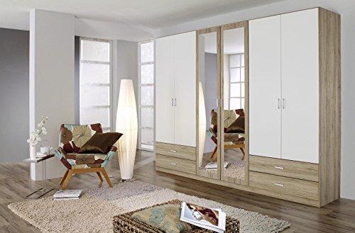 AVANTI TRENDSTORE - Borbeno - Armadio spazioso ad Ante a Battente con Specchio e cassetti, in Laminato Quercia San Remo e Bianco. Dimensioni Lap: 271x210x54 cm