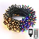 Brizled Christmas Lights, 65.67ft 200 LED Color Changing Tree Lights 11-Function Warm White & Multi Color Christmas Lights, Connectable 24V Safe Adapter Remote Decorative Lights String for Xmas Party
