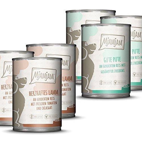 MjAMjAM Mangime Umido per Cani, Monoprotein Pack i 3 Agnello, 3 Tacchino e Riso - Pacco da 6 x 400 g