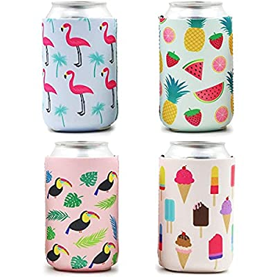 Insulated Can Cooler: Say goodbye to warm soda and beer with these can sleeves that feature assorted tropical designs such as flamingo, tropical fruits, ice cream, and toucans Drink Covers: Enjoy a refreshing ice cold beverage for hours, our beer can...