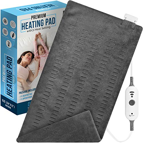 Utopia Bedding Electric Heating Pad (Charcoal Grey) 12 x 24 Inches - 3 Electric Temperature Options - Auto Shut Off and Washable Cover